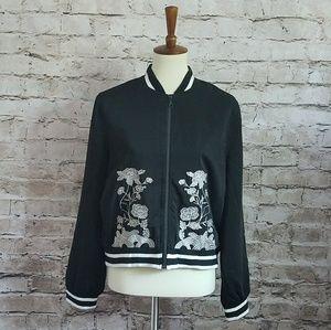 WD.NY black embroidered bomber jacket